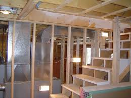 Framing basement walls in a basement remodeling project.