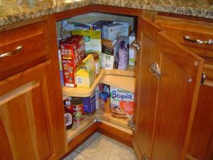 A lazy Susan Cabinet makes efficient use of kitchen real estate.