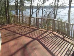 A finished deck addition to the home.