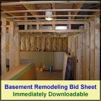 Basement Remodeling Bid Sheet