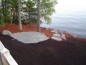 An elliptical bluestone patio.