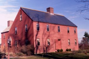 Solar roof shingles on a colonial house.
