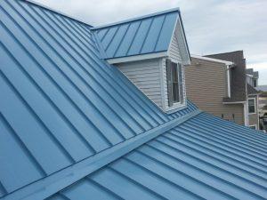 Metal roof installation.