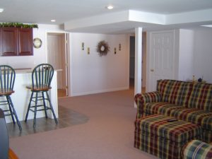 Carpeting installed in basement
