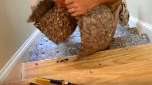 Preparing staircase for wood flooring.