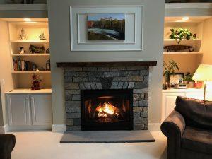 Finished Stone Veneer Fireplace