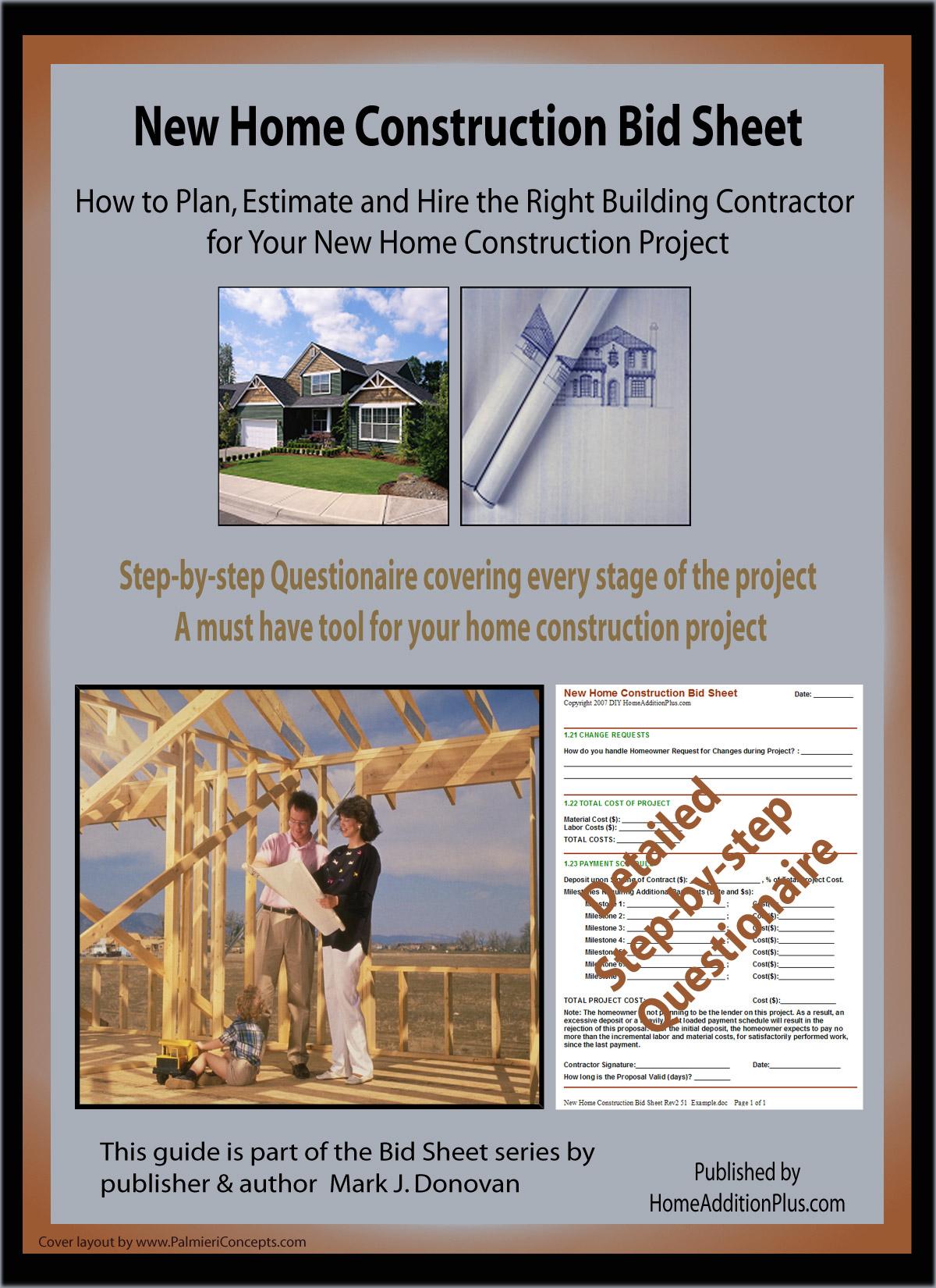 New Home Construction Bid Sheet